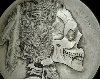 Buffalo Skull Handcarved coin ultra fine detail