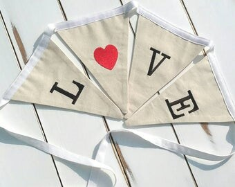 Red/Black Wedding Love Banner, Love Material Banner, Embroidered Love Bunting, Engagement Banner, Love Flags, Love Pennant, Heart Garland,