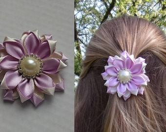 Bar flower purple and cream satin/kanzashi/Fleur kanzashi/Ribbon satin hair clip