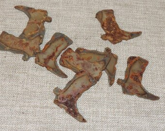 """Lot of 8 Rusty 2"""" Western Boots Cut from Sheet Metal for Art Creations"""