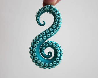 Christmas in july Octopus tentacle Tentacle pendant Tentacle necklace Turquoise tentacle Summer necklace Summer outdoor Summer party