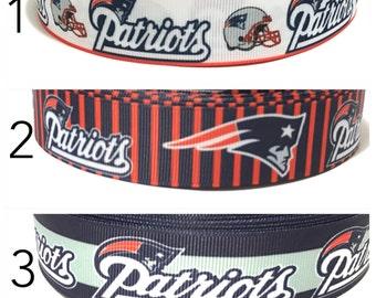 "1"" Patriots Ribbon, New England Patriots Grosgrain ribbon by the yard, New England Ribbon"