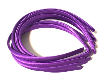 Purple Satin Headbands,Purple Headbands,DIY Headbands, 10mm Satin headband,Headbands for Bows,Violet Headbands,Skinny Headband for Girls