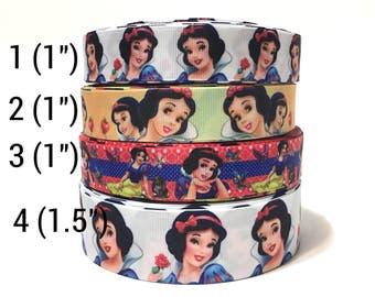 Snow White Ribbon by the yard, Snow White Grosgrain Ribbon for Bows