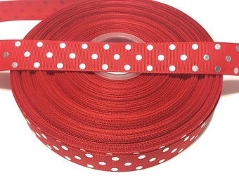 7/8 Red Polka Dot Ribbon, Polka Dots Ribbon, Red Silver Dots Ribbon Grosgrain Ribbon