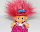 "3"" Russ Troll Doll, New Blue Eyes, Dk Red Hair, Knit Dress, Panties, Hair Clip"