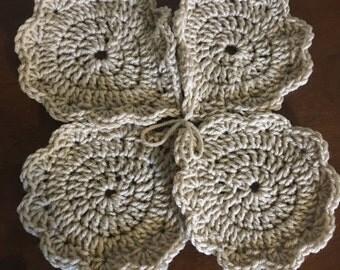 Handmade crochet beige beverage coasters