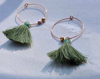 Set of three pairs of earrings oreillesen Green