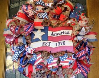 Patriotic Wreath, Americana Wreath, Patriotic Door Hanger, USA Wreath, Memorial Day Wreath, Fourth of July Wreath, Patriotic Mesh, USA Door