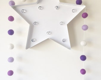 Quality Felt Ball Garlands ~ Purple Ombre Garland ~ Pom Pom Garland ~ Nursery Decor ~ 2 Meters