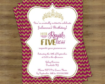 Her Royal Fiveness Birthday Invitation; Pink and Gold Birthday Invitation; Royal Birthday Invitation; Royal Birthday Party Invitation