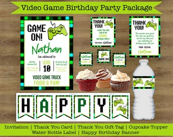 Video Game Party Printables; Video Game Party Supplies; Video Game Party Decorations; Video Game Party Invitations; Game Truck Invitation