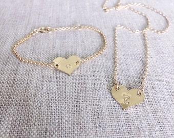 Heart initial Bracelet- kids