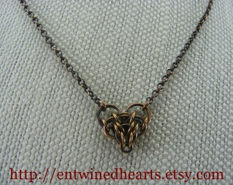 Copper Chainmaille Heart Necklace keychain Set