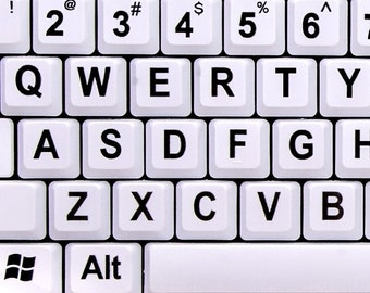 Nuklz Large Print English Keyboard White Keys USB Wired for Desktop Computer