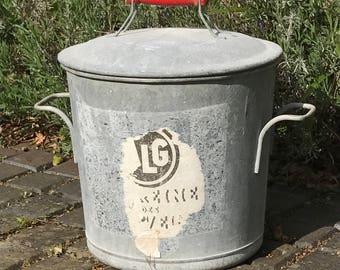1940s French Zinc bin / bucket with lid