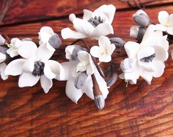 Snow white magnolia headband