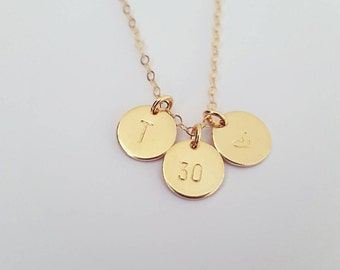 Boxed Gold filled 30th birthday charm necklace | initial | 30th | heart discs | sterling silver rose gold birthday necklace | 21st 25th 18th