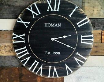 Large Black Custom Rustic Farmhouse Reclaimed Pallet Wood clock