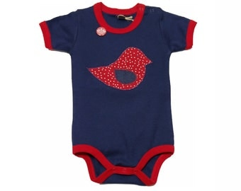 Baby Bodysuit short sleeve in dark blue from which factory in Dusseldorf with a birdie sheathed Bittersüß-Babystrampler-3-18 months
