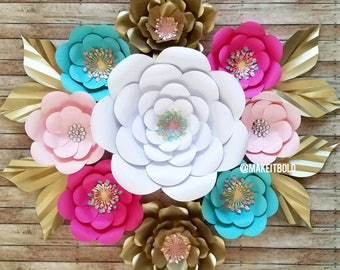 Paper Flower Backdrop - Paper Flower Set - Paper Flowers - Unicorn Party - Nursery Set Backdrop - Paper Flower Decor - Large Paper Flowers