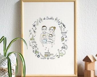 Family portrait illustration / / custom family image
