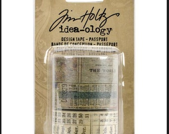 Tim Holtz passport design tape (3) , idea-ology, Rolls scrapbooking 30 YDS vintage