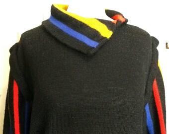 Black Turtleneck Asymmetrical sweater