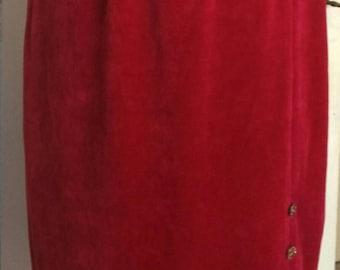 80s red velvet knee skirt