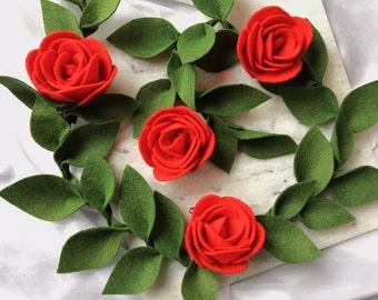 Felt Rose Garland | Valentines Garland | Felt Flower Garland | Nursery Garland | Wedding Garland