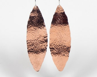 Portia Copper Textured Leaf Earrings with Sterling Silver Ear Wire