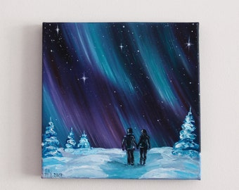 Northern lights Love couple Winter painting Valentine's day Snowy landscape painting Small Oil painting on canvas Aurora borealis Night sky