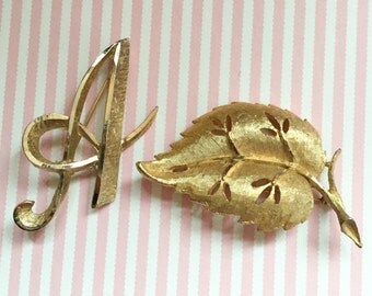 GOLD Brooch Lot BSK BROOCH Signed Mamselle Signed Monogram Gold Leaf Rhinestone Jewelry Vintage Brooches Scarf Clip