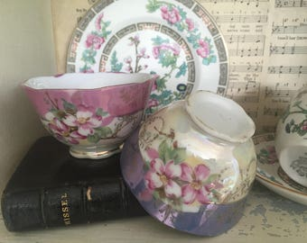 Vintage French very pretty pair of floral Café au lait bowls.