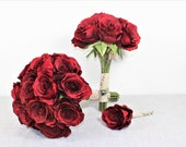Image of Beautiful Silk Faux Red Roses Bridesmaid Bridal Bouquet Flowers Wedding Flowers Bride Wedding Bouquet Set Artificial Flowers 1002