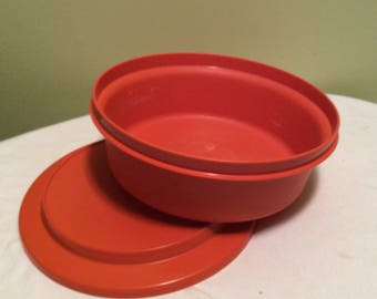 Vintage Orange Tupperware Container Lunch on thr go Bowl with Lid