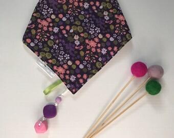 Dangle Dribble Bib- Purple Floral