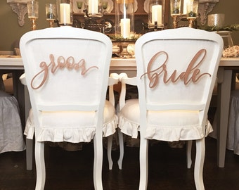 Bride and Groom Chair Signs- laser cut chair signs, wood wedding sign , calligraphy, handlettered, chair sign set