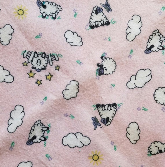 Marcus Brothers Fabric By The Yard Pink Sheep Clouds