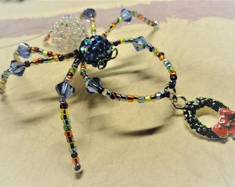 Blue and White Crystal Beaded Spider; Christmas Spider; Christmas Spider Legend; Sun Catcher; Christmas Charm; An Original Spectacled Spider