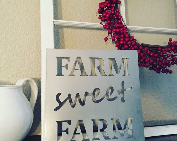 Featured listing image: Farm Sweet Farm - metal sign