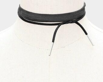Faux Suede Tie Wrap Choker