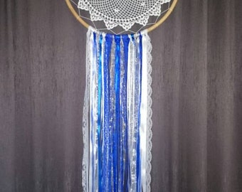Blue, silver and white vintage style dream catcher