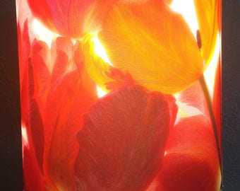 Red and Pink Tulips Lampshade