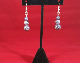 Blue marble earrings
