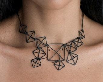 Silver necklace , Geometric necklace, Geometric Figure, Ancient Greece, Impressive Jewel. Silver necklace , Oxidized