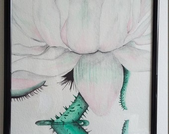 Santa cruz Waterlilly - Original fine art illustration.