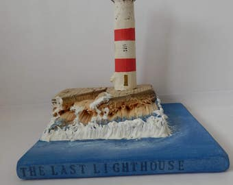 The last lighthouse home decoration,handmade lighthouse,lighthouse wooden gift,recycled wood art,sailing gift,new home gift,gifts for him