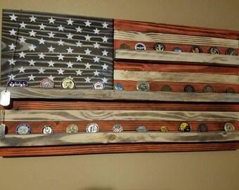 American flag challenge coin display