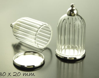 1 glass dome hollow bead with shutter 30 x 20 mm